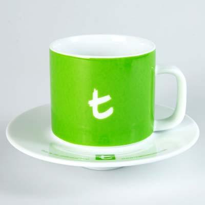 t Series t-Mug & Saucer-Lime