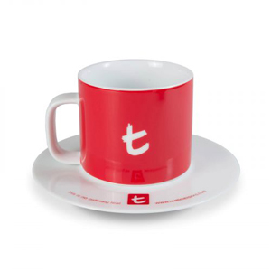 t Series t-Mug & Saucer-Cherry Red
