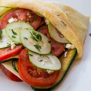Grilled Zucchini, Feta and Tomato