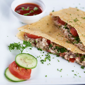 Tuna, Cheddar and Spring Onion Melt Crepe