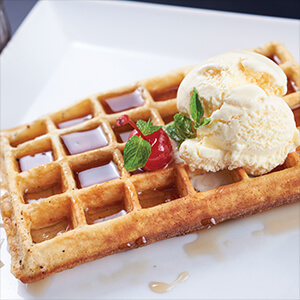 Maple Syrup and Ice Cream Waffle