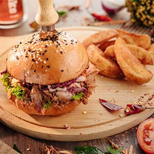 Chicken Burger With Spicy Potato Wedges
