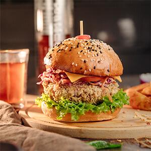 Veggie Burger With Spicy Potato Wedges