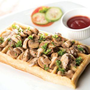 Cheesy Mushroom Delight Waffle