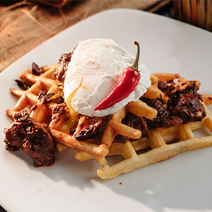 Chicken Curry Egg Waffle